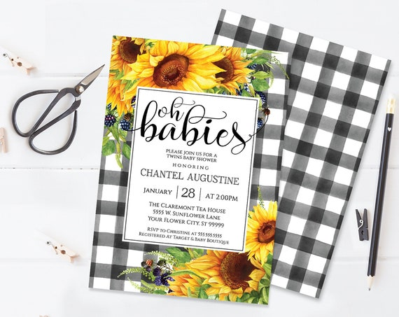 Sunflower Oh Babies Shower Invitation, Boho, Watercolor, Greenery, Baby Shower | Self-Editing with CORJL - INSTANT DOWNLOAD Printable