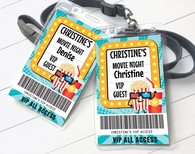 Movie Party Badges, VIP All Access Movie Passes, Movie Birthday | Self-Editing with CORJL - INSTANT Download Printable