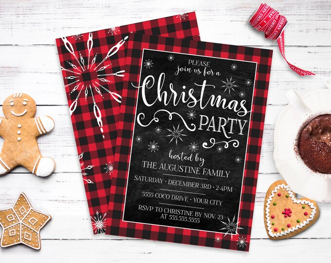 Christmas Party Invitation - Buffalo Plaid Christmas Party, Snowflake Christmas Invite | Self-Edit with CORJL - INSTANT DOWNLOAD Printable