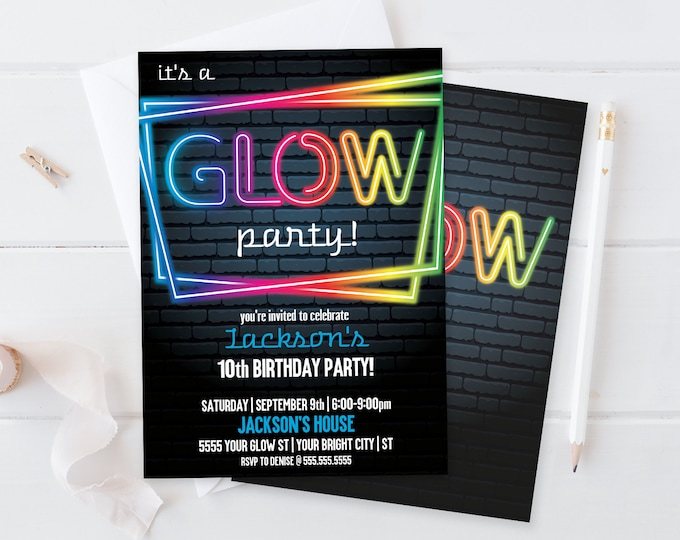 Neon Glow Party Invitation - Neon Glow Birthday, Glow Party Theme, blue | Self-Editing with CORJL - INSTANT DOWNLOAD Printable