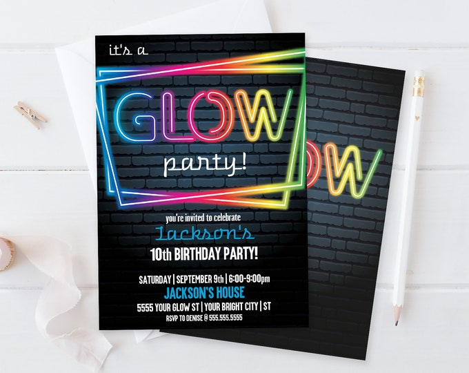 Neon Glow Party Invitation - Neon Glow Birthday, Glow Party Theme, blue | Self-Editing with CORJL - INSTANT DOWNLOAD Printable Template