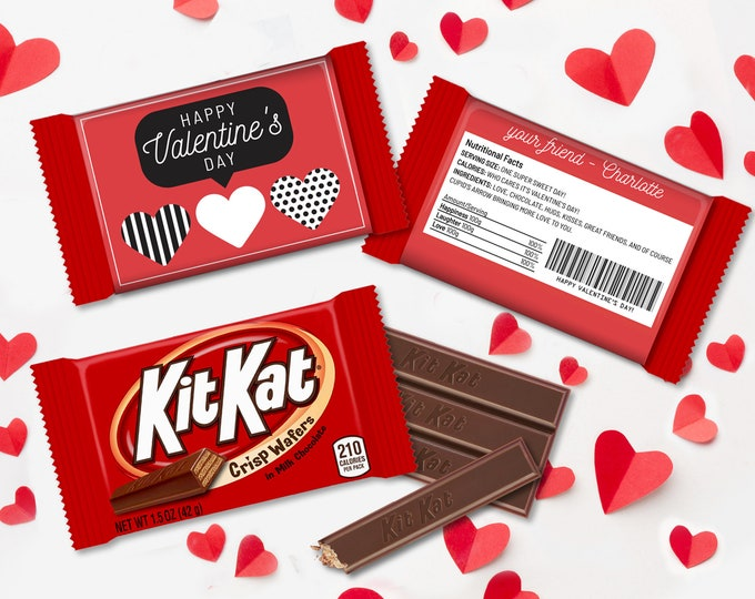 Valentine Hearts Kit Kat Candy Wrap/Label, Speech Bubble, Class Valentine Cards   Self-Edit with CORJL - INSTANT Download Printable