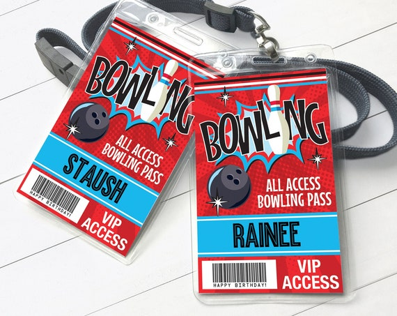 Bowling Party ID Badges - Bowling Bash, Bowling Birthday, All Access Badge | Self-Edit with CORJL - INSTANT Download Printable Template