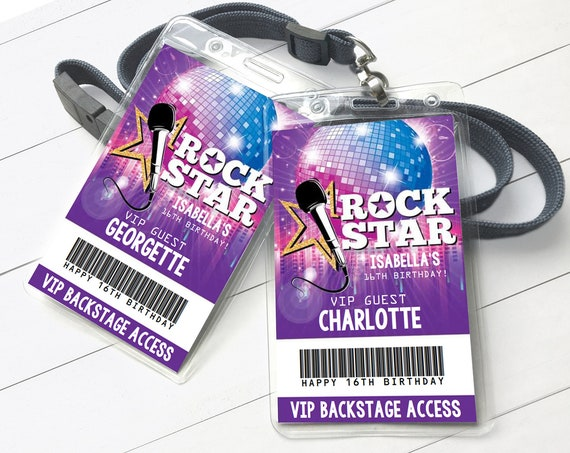 Rockstar Party VIP Badge, Party like a Rockstar, Rock n Roll, Backstage Pass | Self-Edit with CORJL - INSTANT Download Printable Template