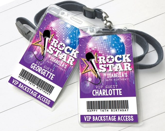 Rockstar Party VIP Badge, Party like a Rockstar, Rock n Roll, Backstage Pass | Self-Editing with CORJL - INSTANT Download Printable