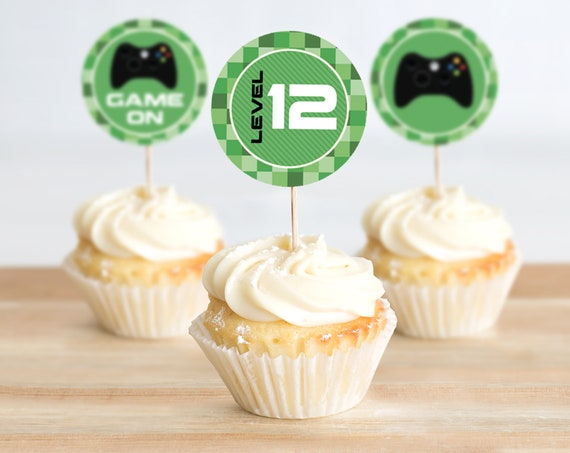 Video Game Party Cupcake Toppers - 2-inch CupcakeToppers, Video Game Birthday | Self-Editing with CORJL - INSTANT DOWNLOAD Printable