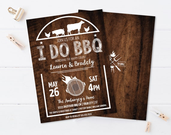 I do BBQ Shower Invitation - Bridal Shower, Barbecue Shower Invite, Summer Shower | Self-Edit with CORJL - Instant Download Printable