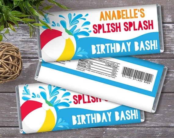 Pool Party Candy Bar Wrapper - Candy Bar Label, Birthday Party Favors, Summer | Self-Edit with CORJL - INSTANT DOWNLOAD Printable