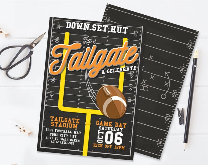 Tailgate Football Party Invitation - Football Invitation, Game Day Invite | Self-Editing with CORJL - INSTANT DOWNLOAD Printable