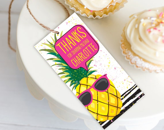 Pineapple Favor Tag - Party Like a Pineapple, Hawaiian, Luau,Birthday,Pineapple Party | Self-Editing with CORJL - INSTANT DOWNLOAD Printable