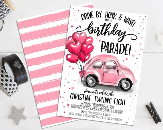 Drive-By Birthday Invitation - Social Distancing Birthday Invite, honk beep wave | Self-Editing with CORJL - INSTANT DOWNLOAD Printable