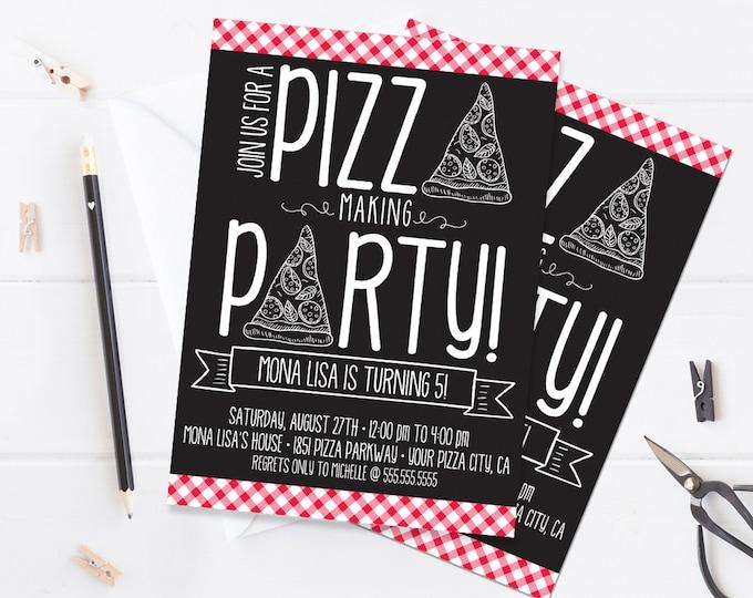 Pizza Making Party Invitation - Pizza Birthday Party, Pizza Party, Make a Pizza Party | Self-Editing with CORJL - INSTANT DOWNLOAD Printable