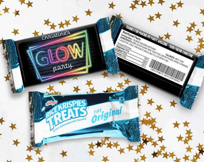 Neon Glow Party Rice Krispie Treat Wrap/Label, Neon Glow Theme, Treat Favor Wrap | Self-Edit with CORJL - INSTANT Download Printable