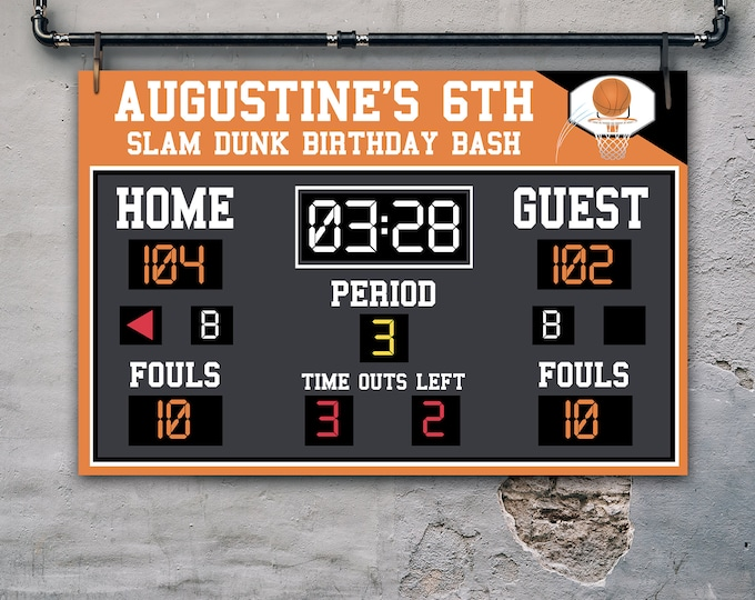 "Basketball Scoreboard Printable 24""x36"" Poster - Scoreboard Sign, Basketball Birthday  Self-Editing with CORJL - INSTANT DOWNLOAD Printable"