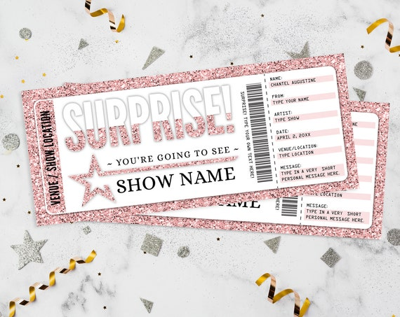Surprise Concert Ticket Gift Voucher - Christmas Birthday Anniversary Retirement Graduation | Edit with CORJL - INSTANT DOWNLOAD Printable