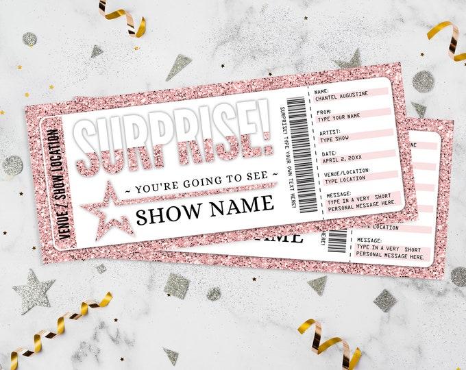 Surprise Concert Ticket Gift Voucher - Christmas Birthday Anniversary Retirement Graduation   Edit with CORJL - INSTANT DOWNLOAD Printable