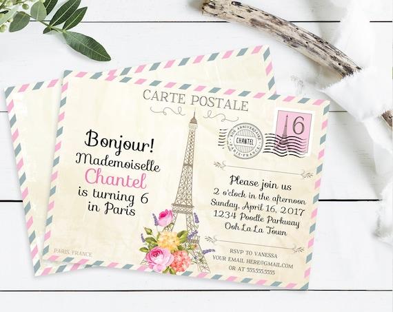 Paris Postcard Invitation - Paris Birthday , Postcard to Paris, First Birthday | Self-Edit with CORJL - INSTANT DOWNLOAD Printable Template