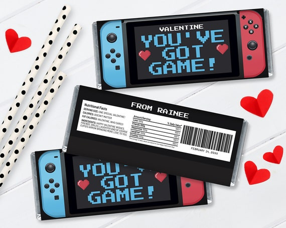 """VALENTINE Switch """"You've Got Game"""" Candy Bar Label/Wrapper - Video Game Candy Bar Labels 