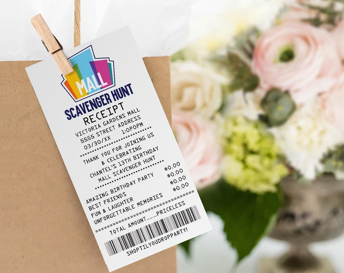 Mall Scavenger Hunt Favor Tags, Thank You Tags, Receipt Tags   Self-Editing with CORJL - INSTANT Download Printable