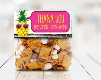"""Pineapple 4"""" Treat Bag Topper - Party Like a Pineapple, Hawaiian, Luau, Birthday   Self-Edit with CORJL - INSTANT DOWNLOAD Printable"""