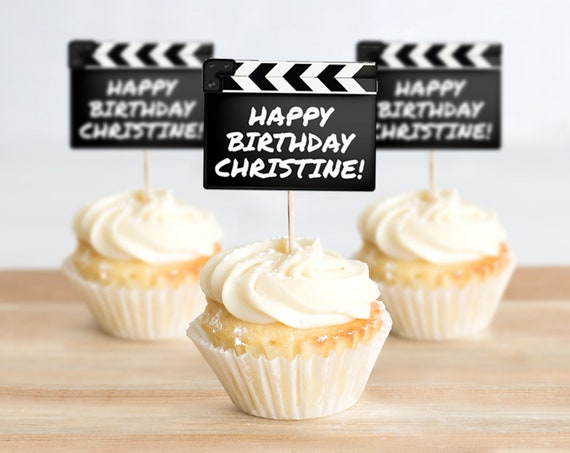 Movie Party Cupcake Toppers - Movie Clapper Topper, Movie Night Birthday | Self-Editing with CORJL - INSTANT DOWNLOAD Printable