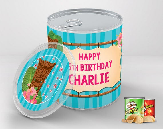 LUAU Mini Pringles Label - Hawaiian Party, Birthday Party, Shower, Baby, Bottle Wraps | Self-Edit with CORJL - INSTANT Download Printable