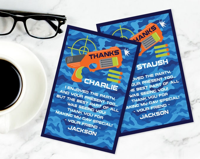 Dart Wars Thank You Note, Thank You Cards, Dart Wars Birthday Party, Target Party | Self-Editing with CORJL - INSTANT Download Printable