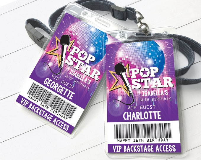 Pop Star Party VIP Badge, Party like a Pop Star, Rock n Roll, Backstage V.I.P. Pass | Self-Editing with CORJL - INSTANT Download Printable