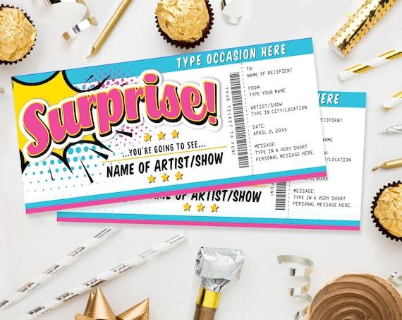 Surprise Concert Gift Ticket Printable Voucher - Show Theatre Movie Performance Artist | Edit with CORJL - INSTANT DOWNLOAD Printable