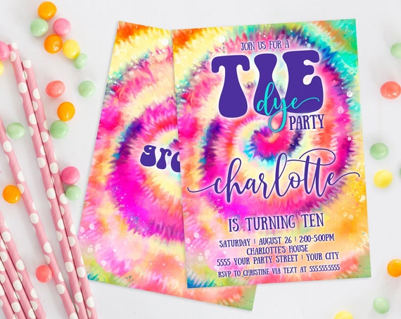 Tie Dye Party Invitation - Hippie Birthday Party, Peace Love, Teen Party, Tween Party | Self-Edit with CORJL - INSTANT DOWNLOAD Printable