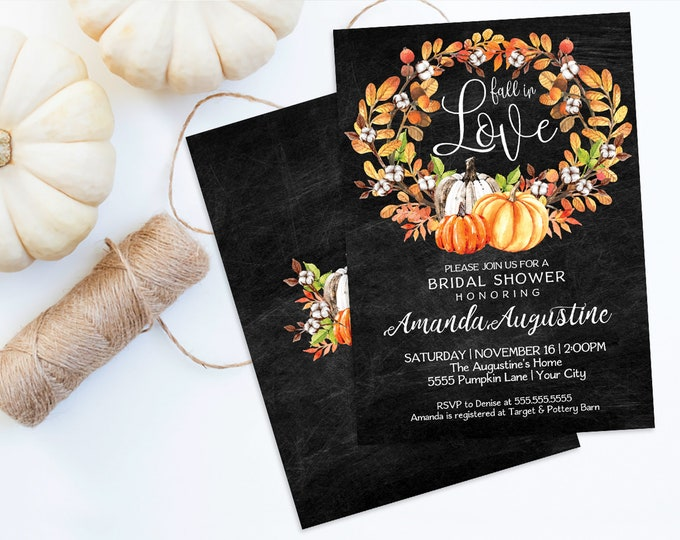 Fall in Love Bridal Shower Invitation, Pumpkin Shower, Autumn Shower, Wedding Shower |  Self-Editing with CORJL - INSTANT DOWNLOAD Printable