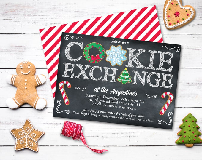Cookie Exchange Party Invitation - Cookie Party, Holiday Cookie Party, Cookie Swap | Self-Edit with CORJL - INSTANT DOWNLOAD Printable