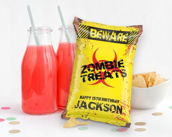 Zombie Chip Bag Wrap/Label-Treat Bag Potato Chip Bag Label, Zombie Birthday, Halloween | Self-Edit with CORJL - INSTANT DOWNLOAD Printable