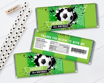 Soccer Candy Wrappers/Label - Soccer Birthday, Soccer Party, Candy Label | Self-Editing with CORJL - INSTANT DOWNLOAD Printable