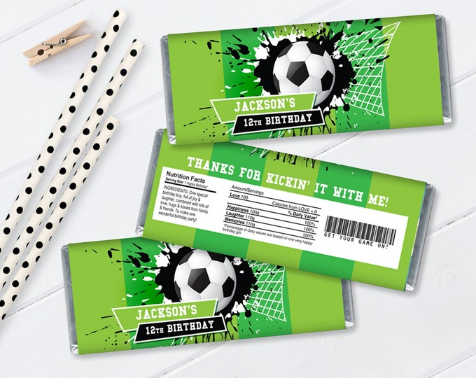 Soccer Candy Wrappers/Label - Soccer Birthday, Soccer Party, Candy Label   Self-Editing with CORJL - INSTANT DOWNLOAD Printable