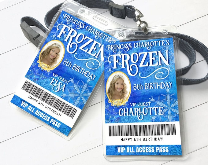 Frozen Winter Party VIP Photo Badge, Frozen Snowflakes Theme, All Access Pass | Self-Edit with CORJL - INSTANT Download Printable