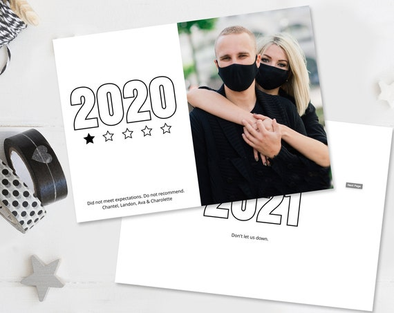 2020 Would Not Recommend Photo Card - New Years Photo Card, One Star Rating, Christmas | Self - Edit with CORJL - INSTANT Download Printable