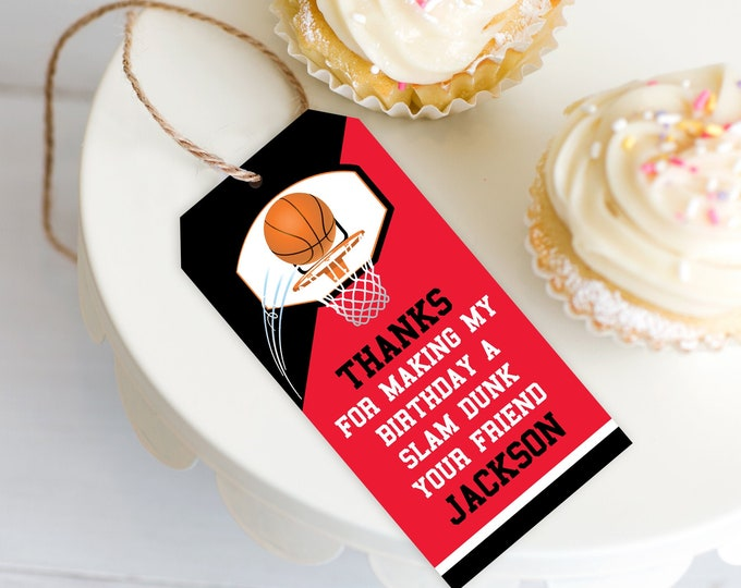 Basketball Favor Tag - Basketball Party, Basketball Birthday, Thank You Tag, Red | DIY Editable Text INSTANT DOWNLOAD Printable