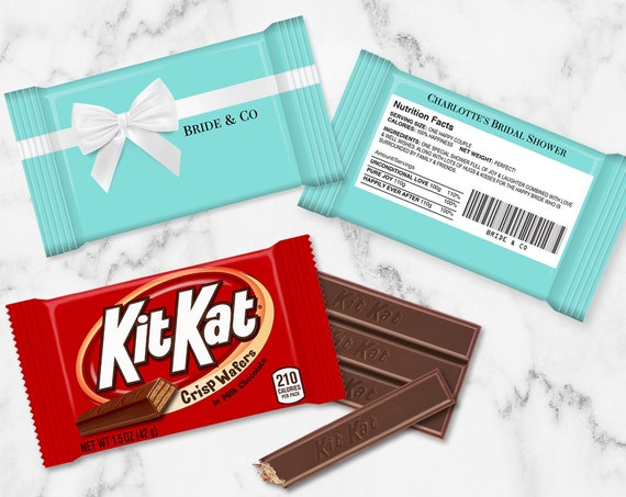 Bridal Shower Kit Kat Candy Bar Label/Wrap - Bachelorette Party Favor,Turquoise Favor | Self-Editing with CORJL - INSTANT Download Printable