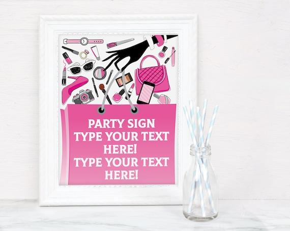 Mall Scavenger Hunt 8x10 or A4 Party Sign, Mall Party Sign | Self-Editing with CORJL - INSTANT DOWNLOAD Printable