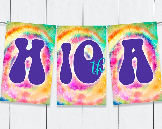 Tie Dye Party Banner - Editable Tie Dye Bunting, Hippie Party, Party Decorations  | Self-Edit Text DIY INSTANT Download Printable Template