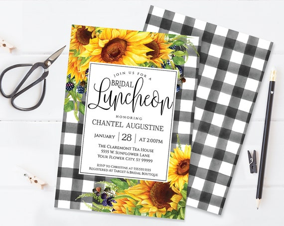 Sunflowers Bridal Luncheon Invitation, Boho, Watercolor, Greenery, Wedding Shower |  Self-Editing with CORJL - INSTANT DOWNLOAD Printable