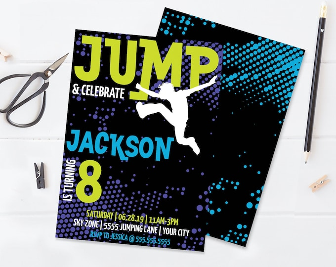Jump Birthday Invitation - Trampoline,Jump & Play,Bounce On Over,Birthday Party | Self-Edit with CORJL - INSTANT DOWNLOAD Printable Template