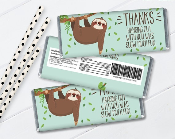 Sloth Hershey's Candy Bar Label/Wrapper - Party Favor, Sloth Party, Sloth Theme | Self-Edit with CORJL - INSTANT Download Printable