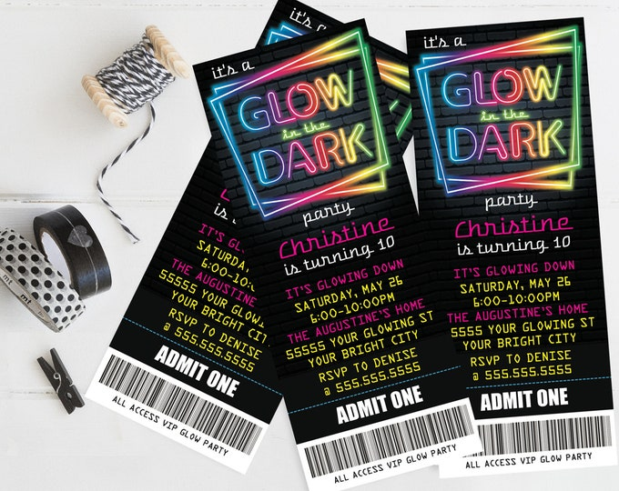 Neon Glow Party Ticket Invitation - Neon Glow Birthday, Glow Party Theme, pink | Self-Edit with CORJL - INSTANT DOWNLOAD Printable Template