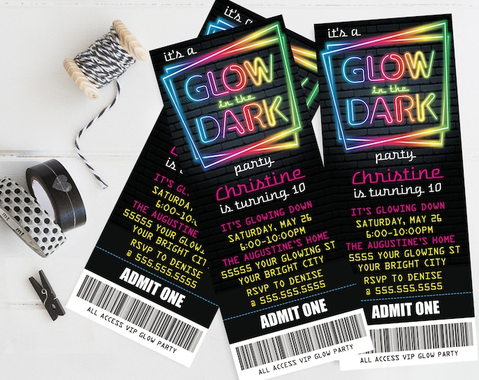 Neon Glow Party Ticket Invitation - Neon Glow Birthday, Glow Party Theme, pink | Self-Editing with CORJL - INSTANT DOWNLOAD Printable