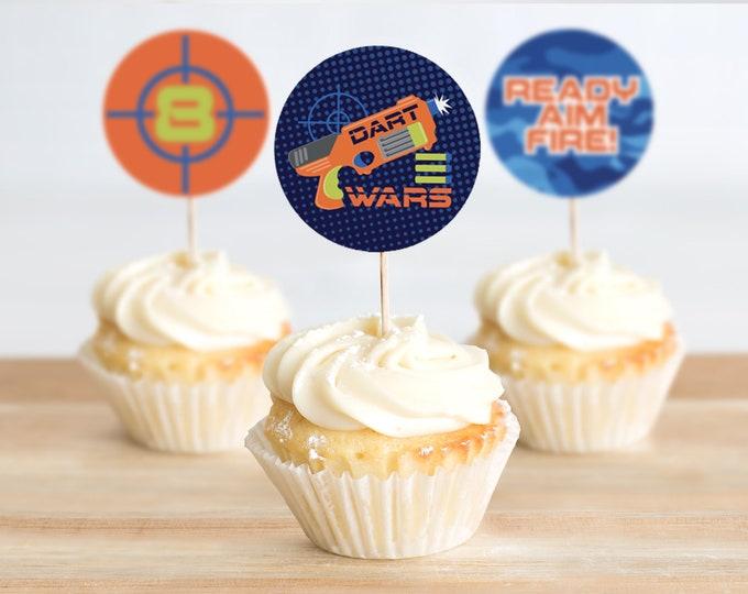 "Dart Wars 2"" Cupcake Toppers-2"" Circle Tag, Dart Wars Party, Target Party,Party Decor 