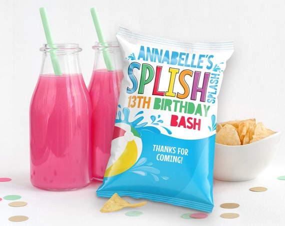 Pool Party Potato Chip Bag Wrap/Label/Template - Snacks Bag, Loot, Mini Chip Bag Favors | Self-Edit with CORJL - INSTANT Download Printable