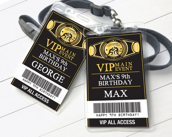 Wrestling VIP Badge, Wrestling Party, Wrestle Party Mania | Self-Editing with CORJL - INSTANT Download Printable