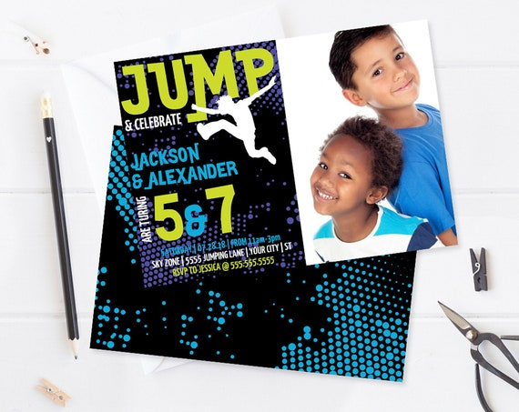 Jump Party Photo Invitation - 2 Kids,Trampoline, Jump & Play,Bounce On Over | Self-Edit with CORJL - INSTANT DOWNLOAD Printable Template